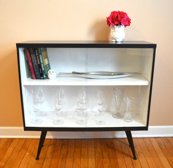 Ad Vintage Mid Century Modern Black White Bookcase With Glass