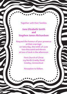 Free zebra print printable invitation with any font color zebra free zebra print printable invitation with any font color stopboris Gallery
