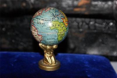 TIN GLOBE Pencil Sharpener Germany Atlas Holding Up The World VTG