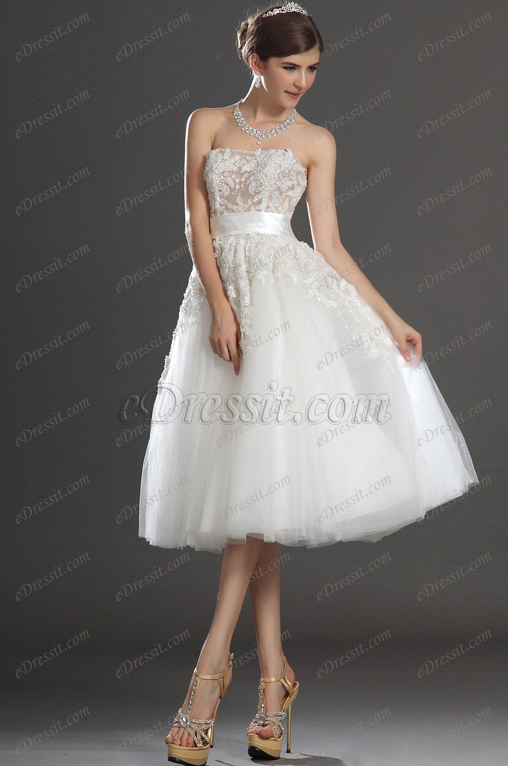Lovely Short Strapless Lace Bodice Wedding Dress