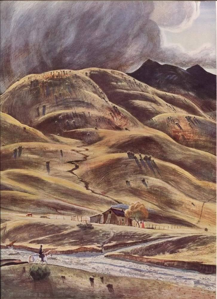 Peter Hurd.The Dry River. Vintage American Artists 1939 print.