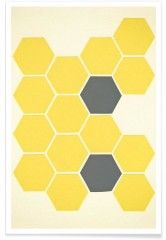 Yellow honeycomb - Premium Poster