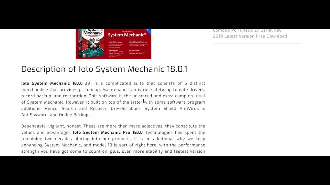 System Mechanic Iolo System Mechanic 18 1 Serial Activation Key Free 6 Months