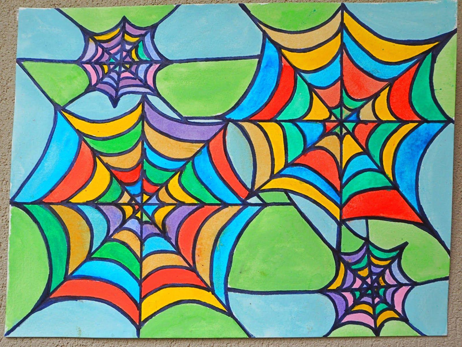 Spider Web Art for Kids | Spider webs, Spider and Art lessons