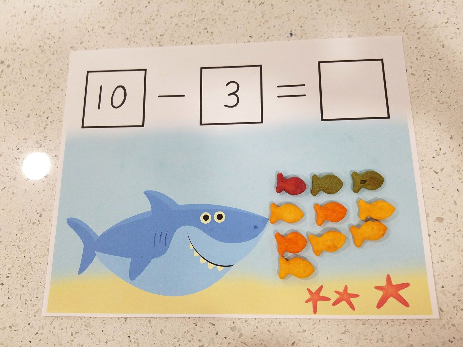 Hungry Shark Free Printable Subtraction Mat In