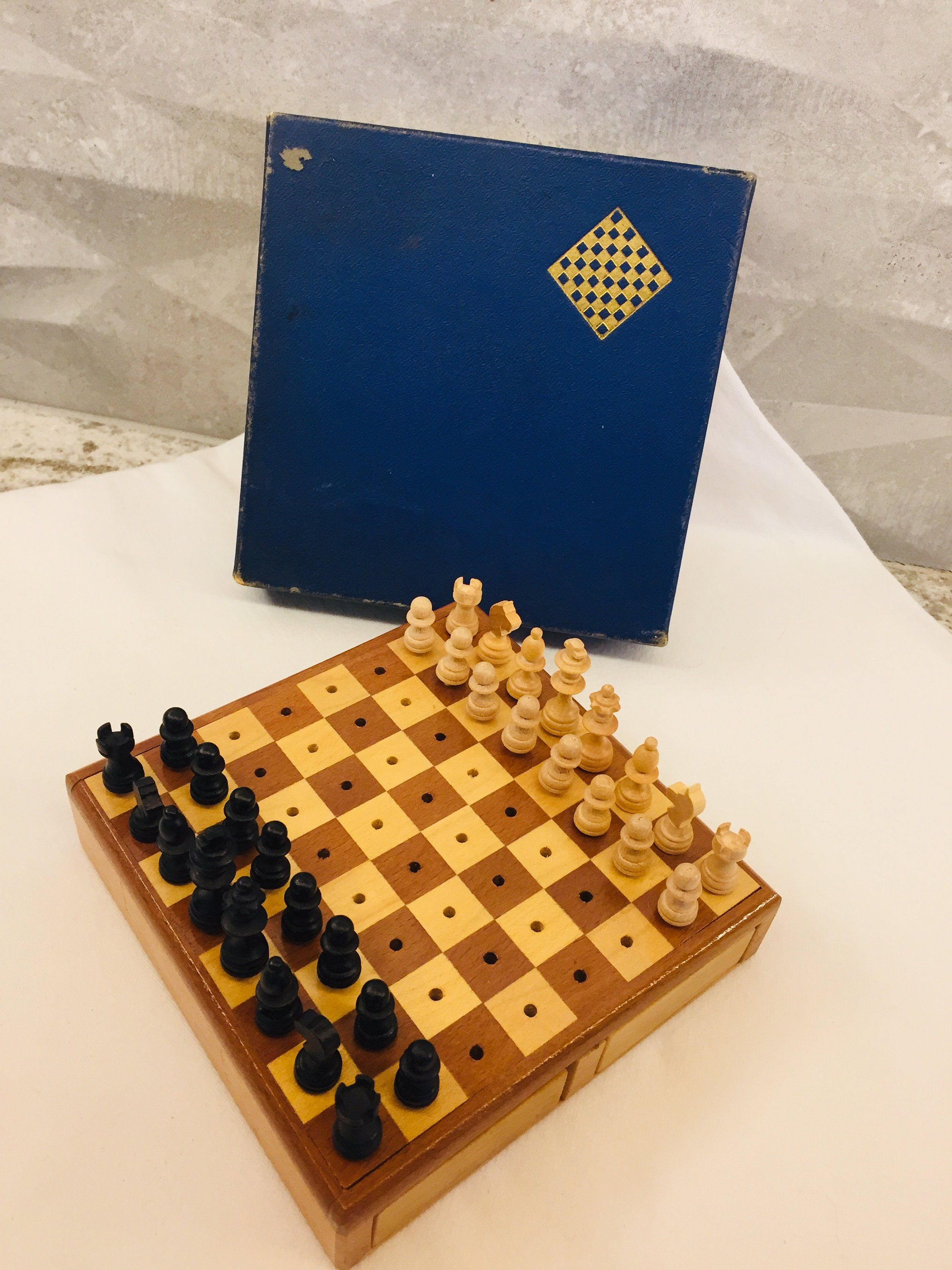 Wood Chess Set Miniature Peg Board Made In Western Germany