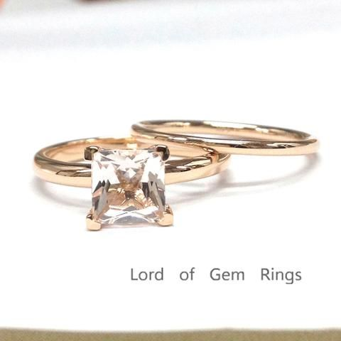 Princess Morganite Engagement Ring Sets 14K Rose Gold 7mm Plain Gold
