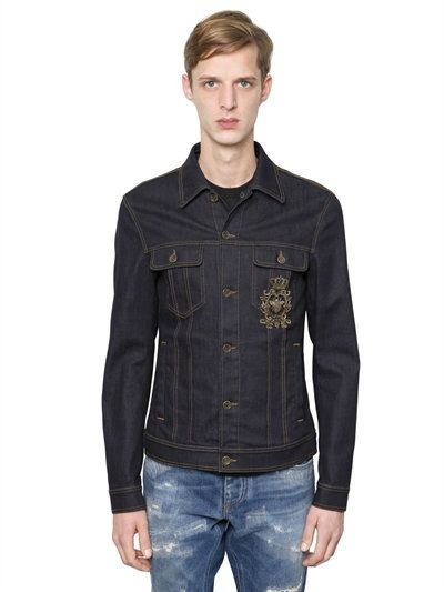 8ad6647b8d DOLCE   GABBANA Embroidered Stretch Denim Jacket