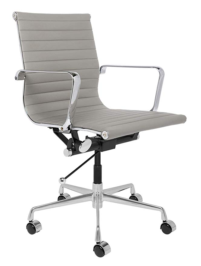 Amazon Com Laura Davidson Soho Ribbed Management Office Chair Grey Kitchen Dining Office Chair Black Office Chair Contemporary Office Chairs