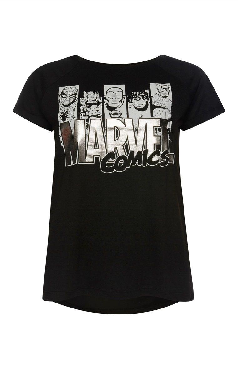 Primark Black Marvel TShirt Marvel tshirt, Marvel