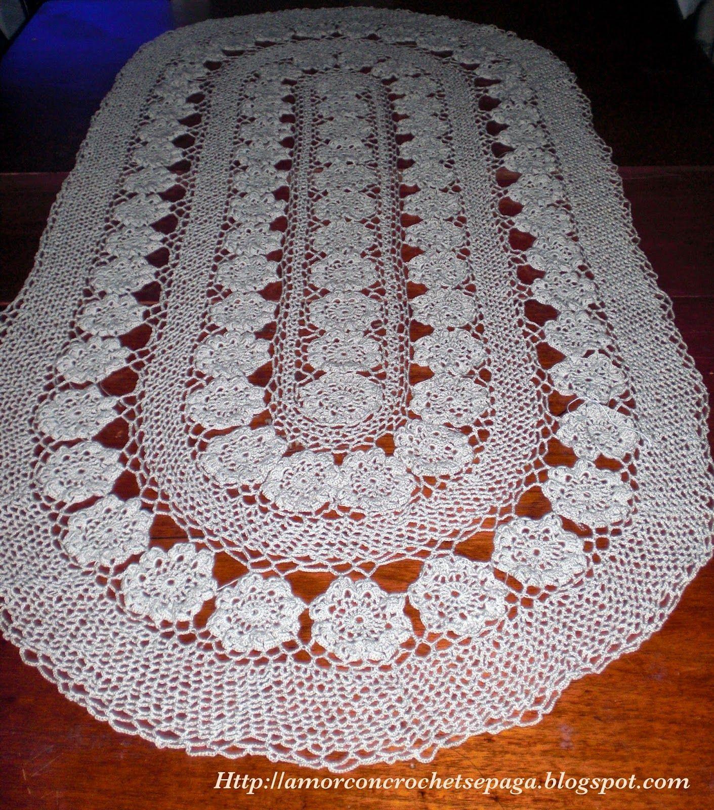 amor con crochet se paga!: Para mi suegra! (Mantel Ovalado - Crochet ...