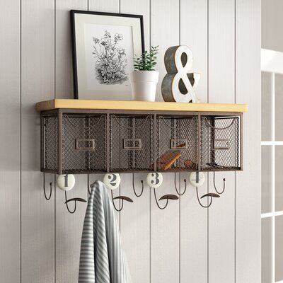 Laurel Foundry Modern Farmhouse 4 Basket Organizer Wall Mounted Coat Rack In 2019 Products Wall Mounted Coat Rack Basket Organization Wall Organization