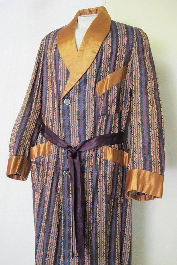 1bad94e5f Art Deco Men's Robe Smoking Jacket Rayon 1940s   Glam for Guys ...
