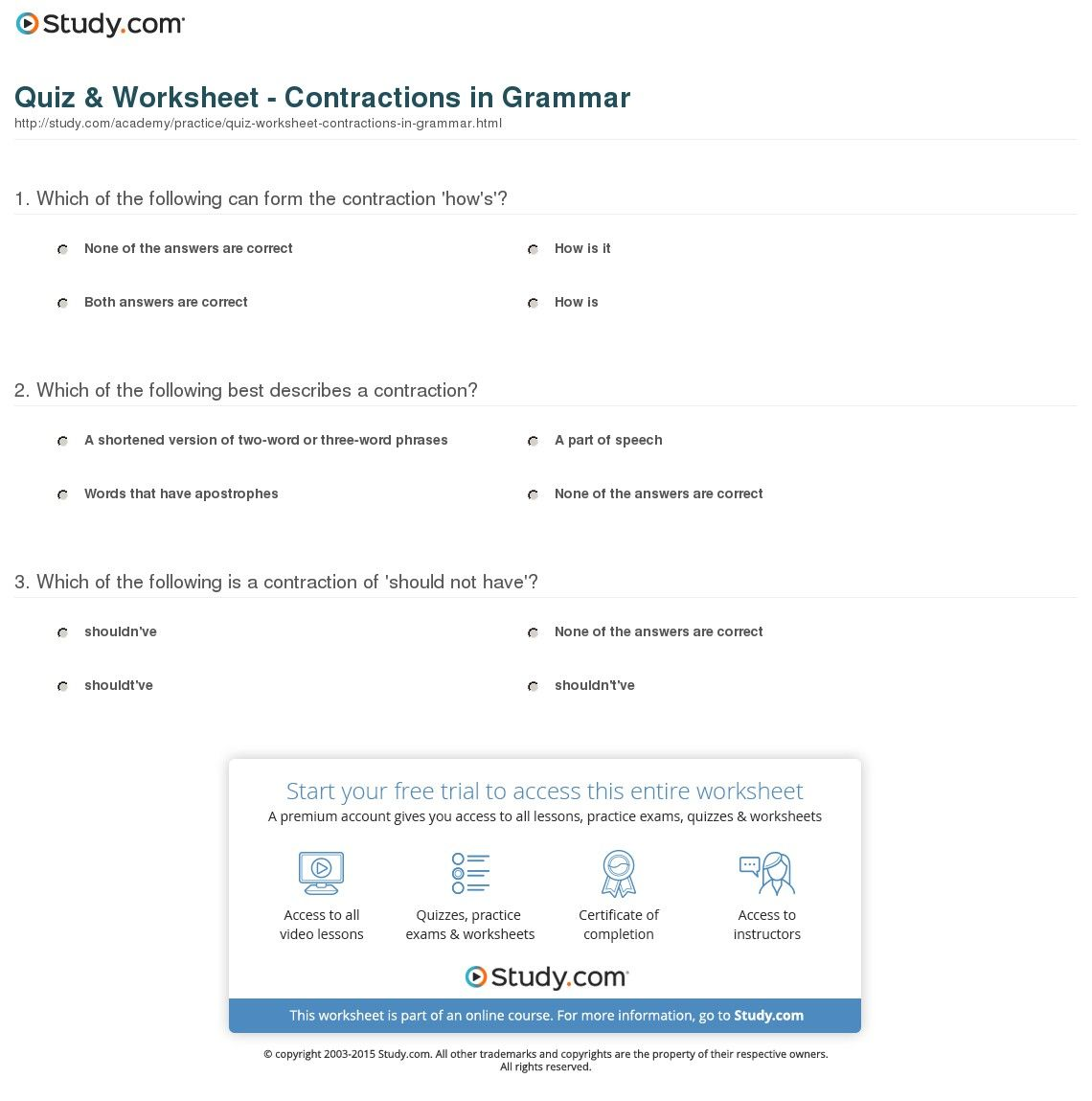34 Innovative Contractions Worksheet Design Ideas