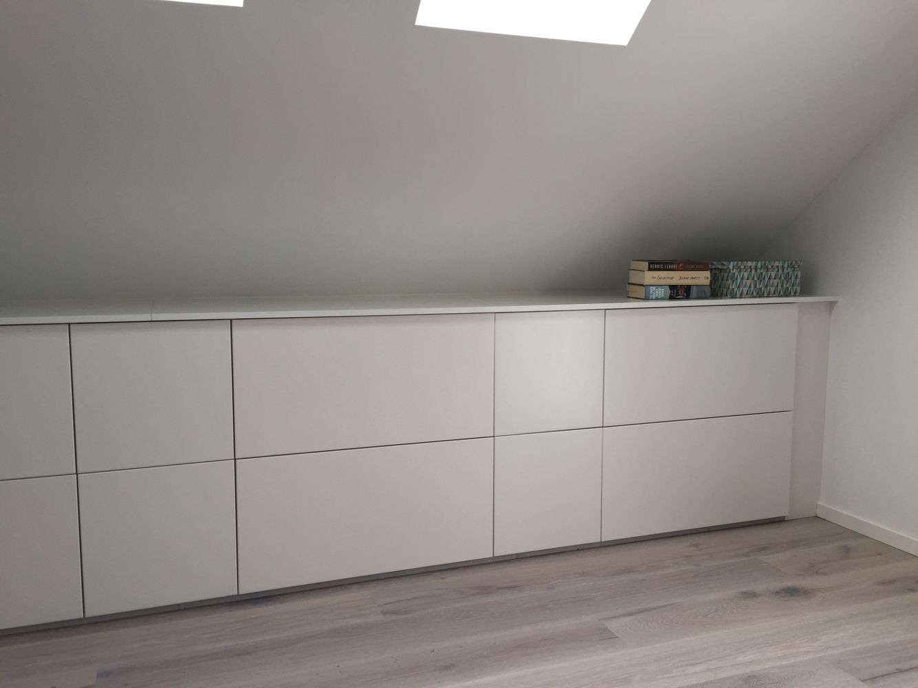 Loft bedroom storage ideas  Ikea kitchen storage as drawers for clothes etc in out new attic