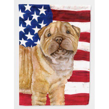 Shar Pei Puppy Patriotic Flag Canvas House Size Multi Color
