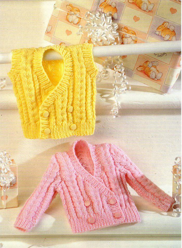 b6f3a553b6ad Baby childs aran cardigan and waistcoat knitting pattern pdf double ...