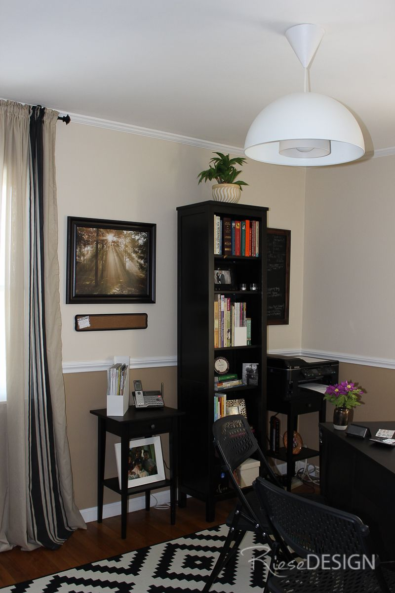 Home Office In A Monochromatic Scheme Benjamin Moore Natural Wicker Amp Springfield Tan Angled