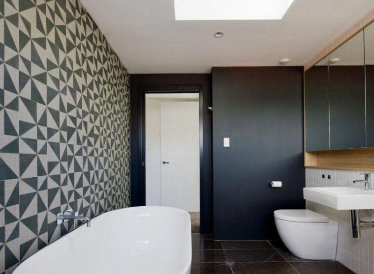 Schwarz-Weiß-Badezimmer in 24 Deko-Ideen #badezimmer #ideen #schwarz