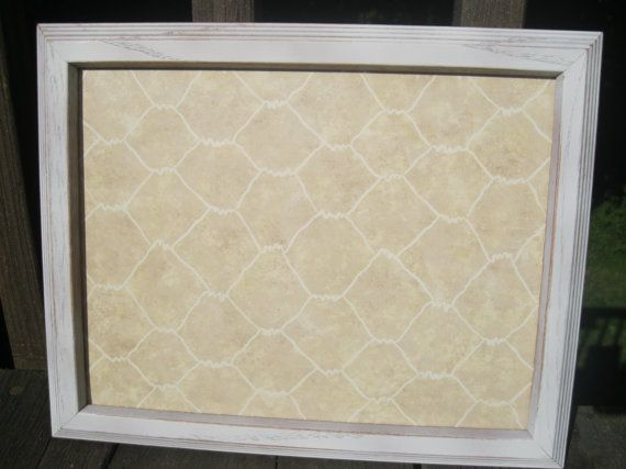 Faux Chicken Wire & Shabby White Dry Erase Board -- kitchen, office, school, dorm, desk organization