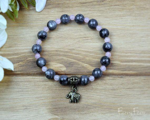 Larvikite and Rose Quartz Elephant Bracelet for by FaeryFlair