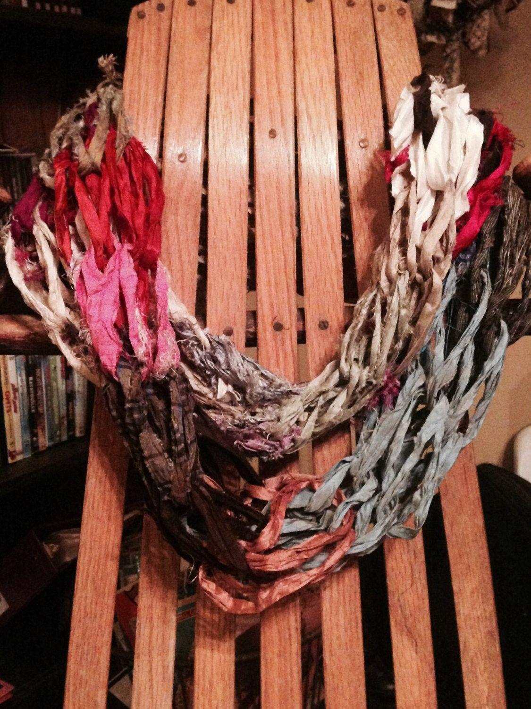 Infinity Scarf, made from Sari Silk Ribbon | Sari silk, Silk ribbon ...