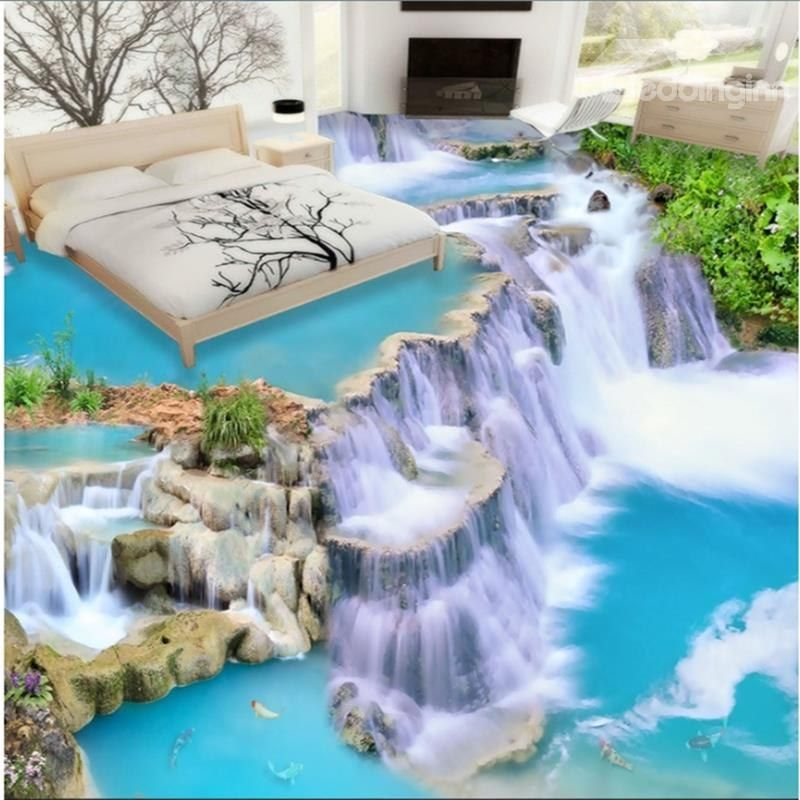 Awesome Realistic Three Dimensional Waterfall Pattern Waterproof Splicing Floor Murals