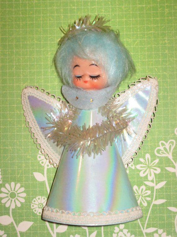 Blue Christmas Angel  Vintage Japan by ShoeFlower on Etsy, $4.00