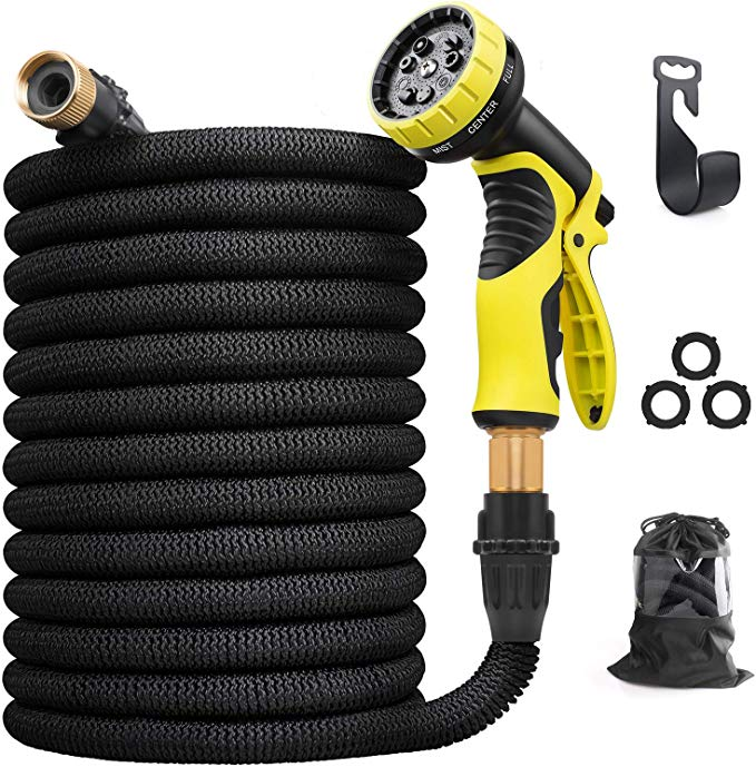 Amss 100 Ft Expandable Magic Flexible Hose For Garden Lawn Car Washing Watering With Multifunction Washing Water Spray Nozzle Water Spray Car Wash Blue Check