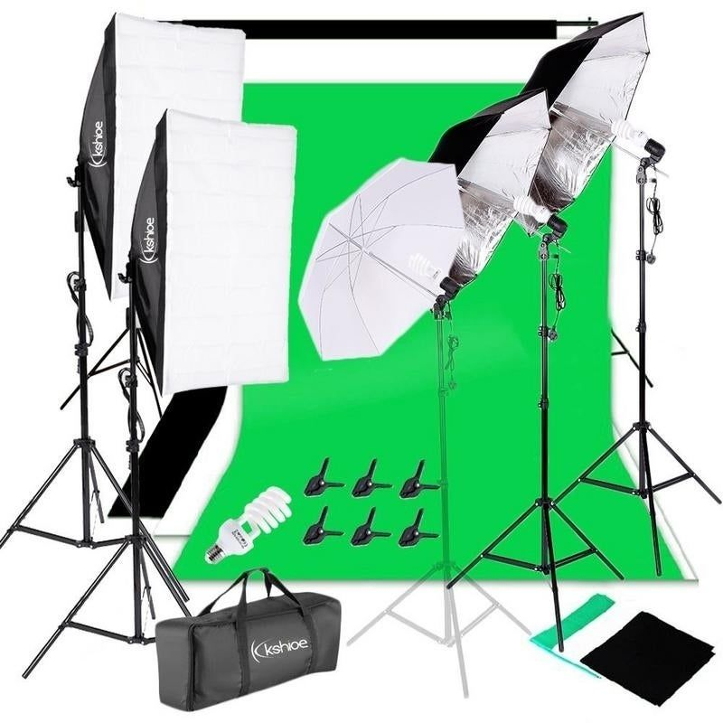 Photo Studio Black White Green Backdrop Screen Stand 3x 65W Softbox Lighting Kit