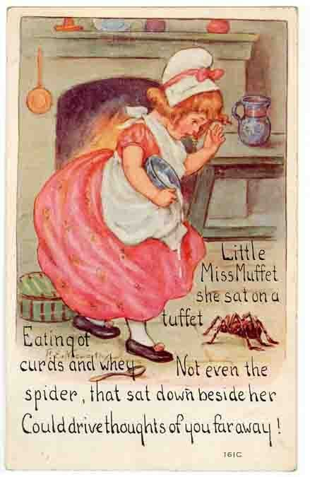 Vintage Nursery Rhyme PC,  Little Miss Muffet Sat on a Tuffet #NurseryRhyme