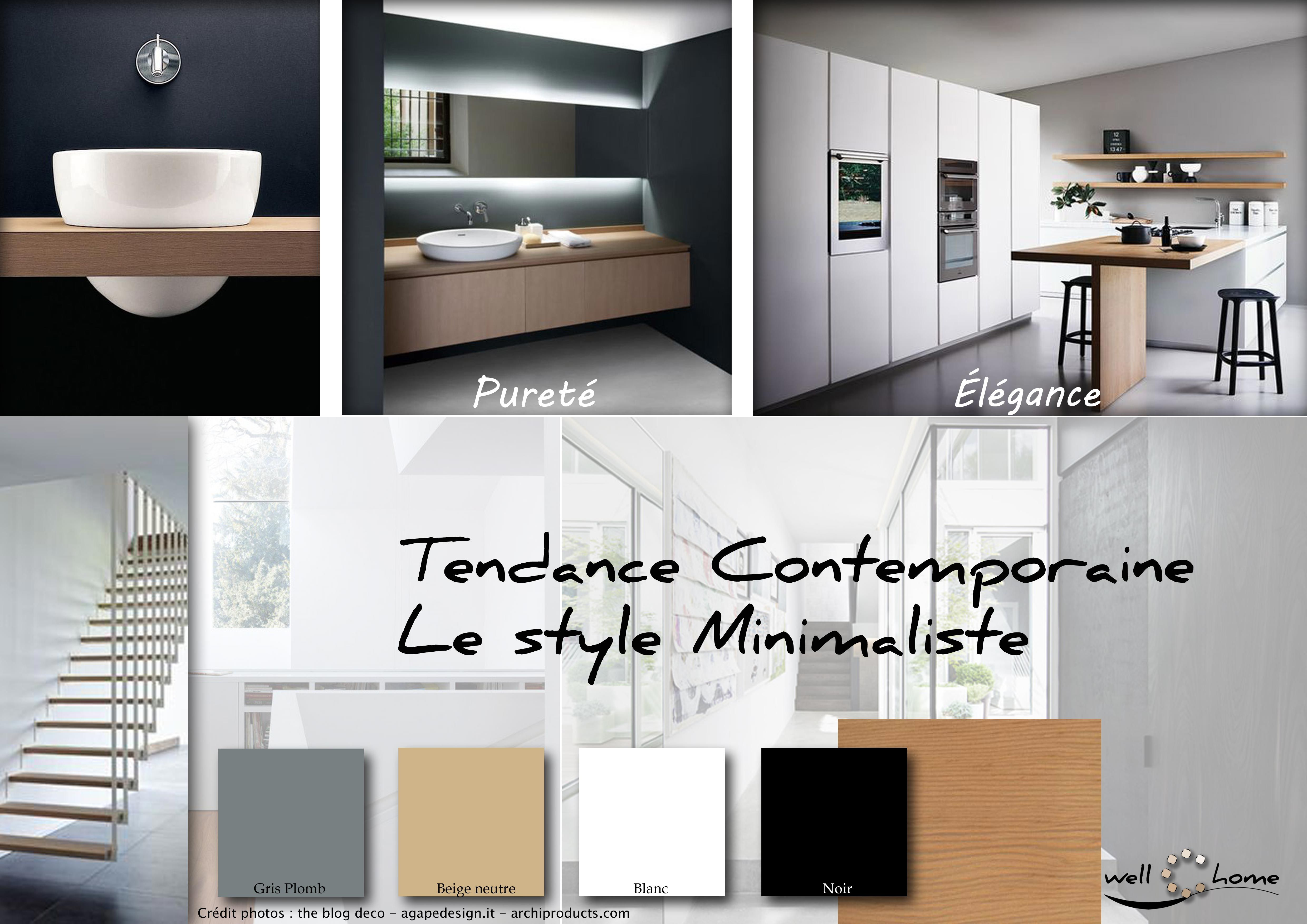 moodboard deco planche d ambiance tendance contemporaine style minimaliste realisation well c home