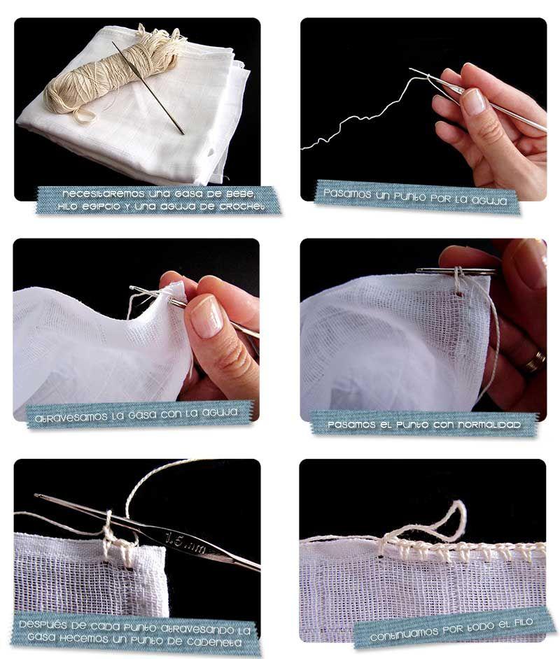 tutorial diy sobre como decorar una gasa de beb con una puntilla de crochet paso a