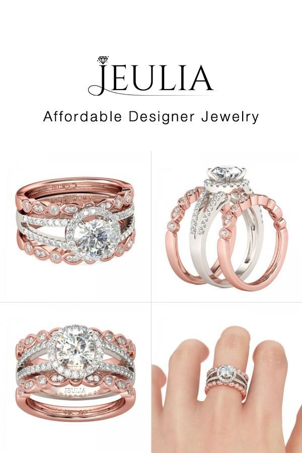 Jeulia 3 Piece 2 Tone Wedding Ring Sets For Her With Halo Round