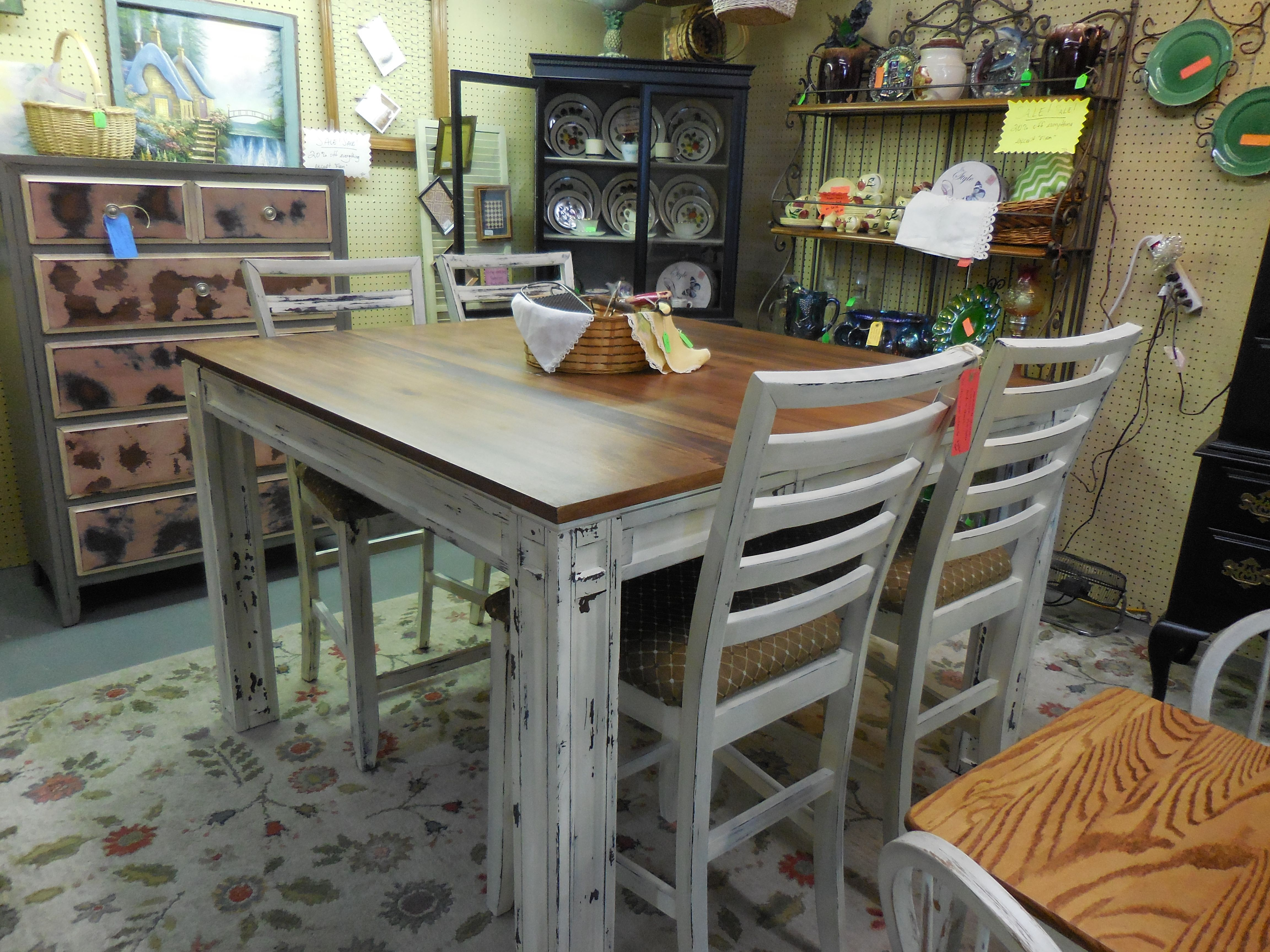 Gorgeous Pub table with 4 chairs.  See this and much more at Tammy's Treasures.  https://www.facebook.com/tammystreasuresantiques