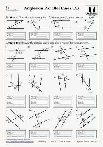 Printable Worksheets Angles on Parallel Lines (A) Maths ...
