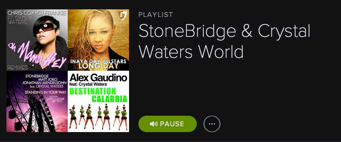 StoneBridge & Crystal Waters are up to something, this playlist just popped up on #Spotify http://open.spotify.com/user/1148609998/playlist/2k9BX489yEaSPP2djtKdFl