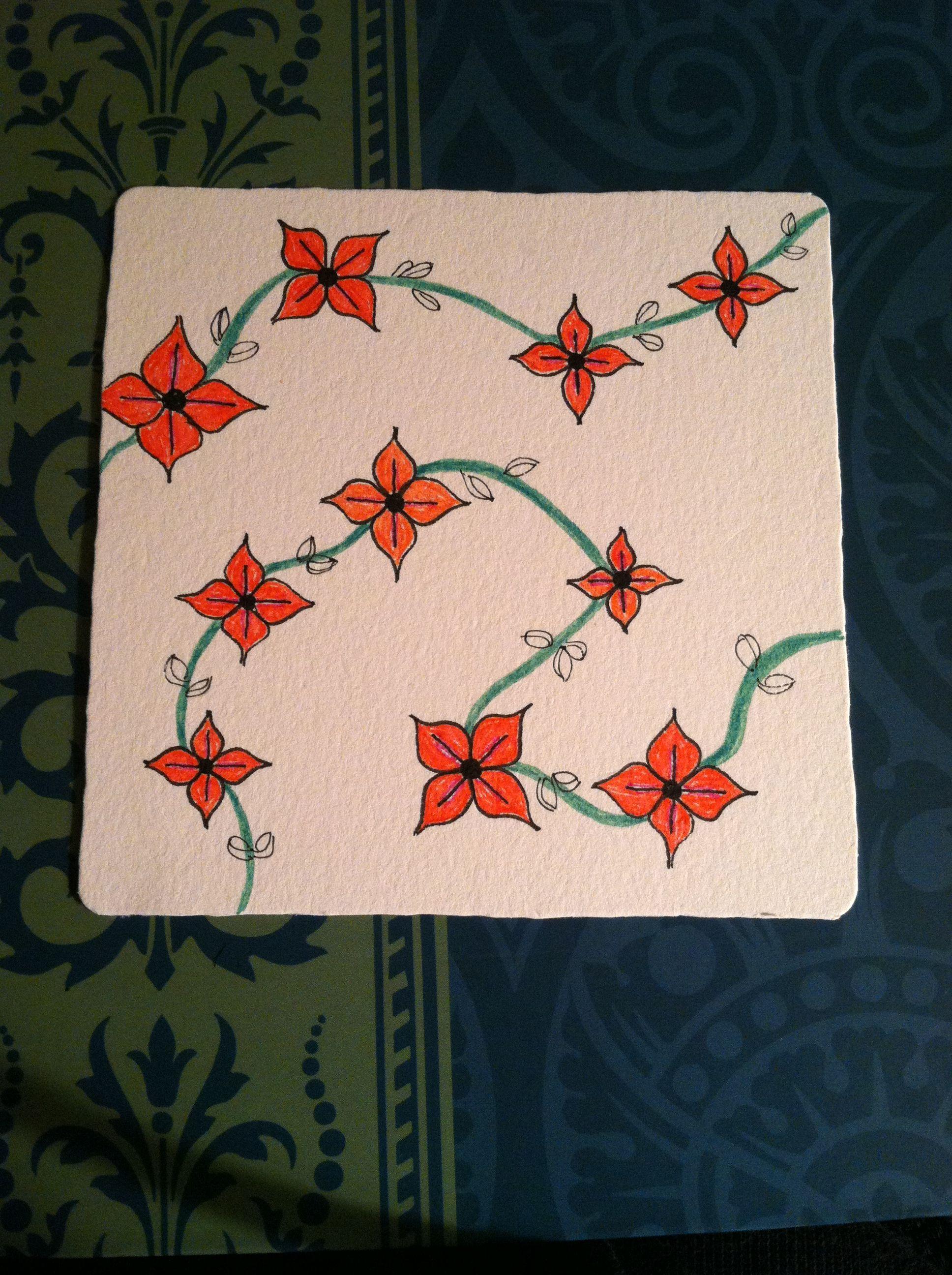 Zentangle Flower Vines