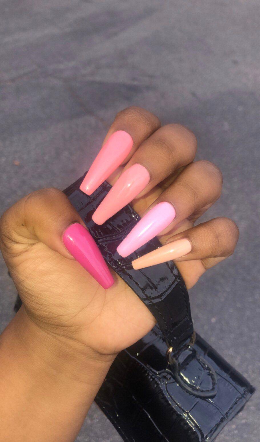 Pink Rainbow Press On Acrylic Nails 10 Set any Size