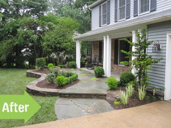 Porch before and after front yard makeover stones for Small front porch landscaping ideas