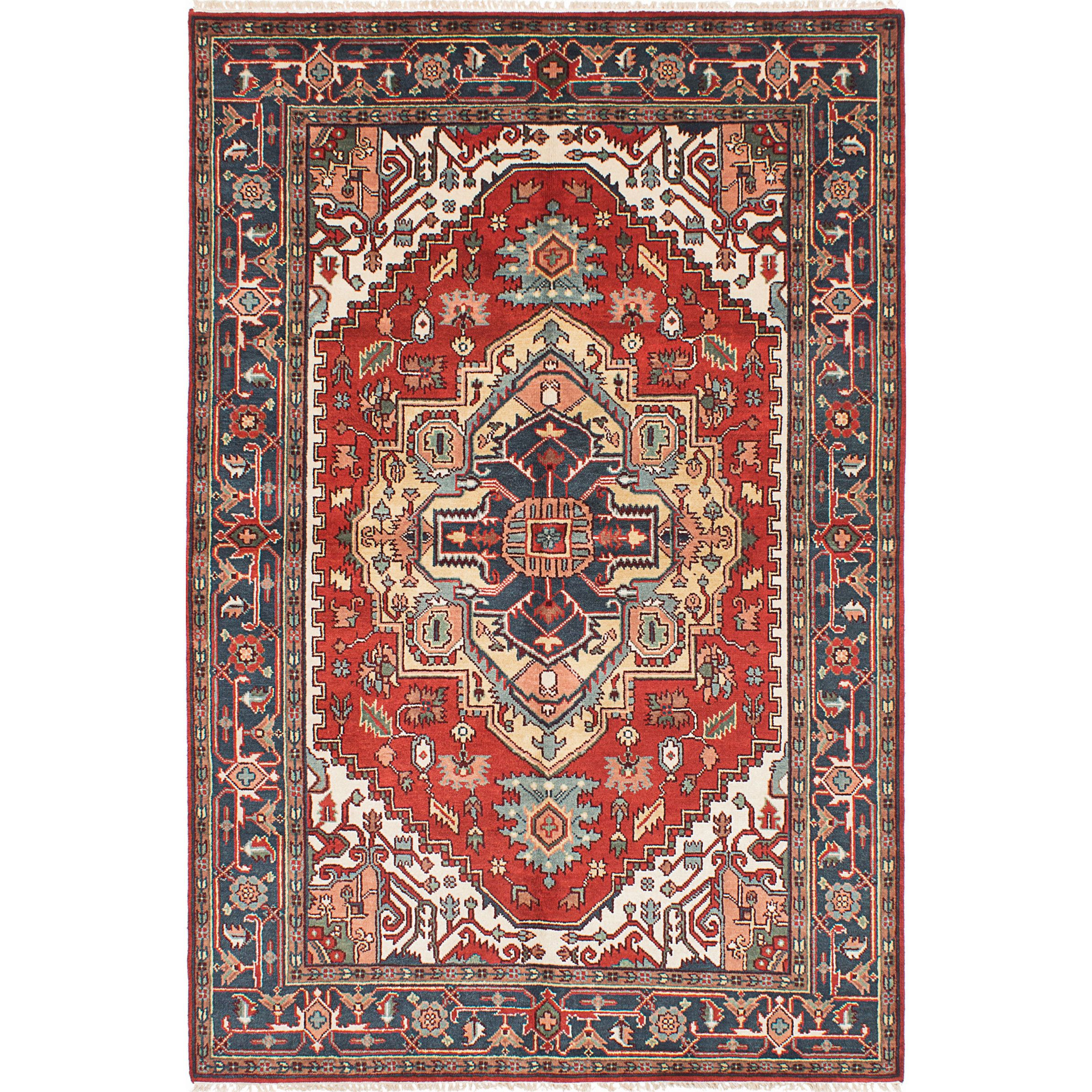 ecarpetgallery Hand Knotted Serapi Heritage Green Red Wool Rug 6 2