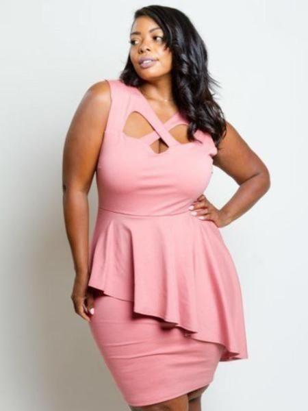 4d620e57c9d Havana Plus Size Peplum Cocktail Dress in Pink