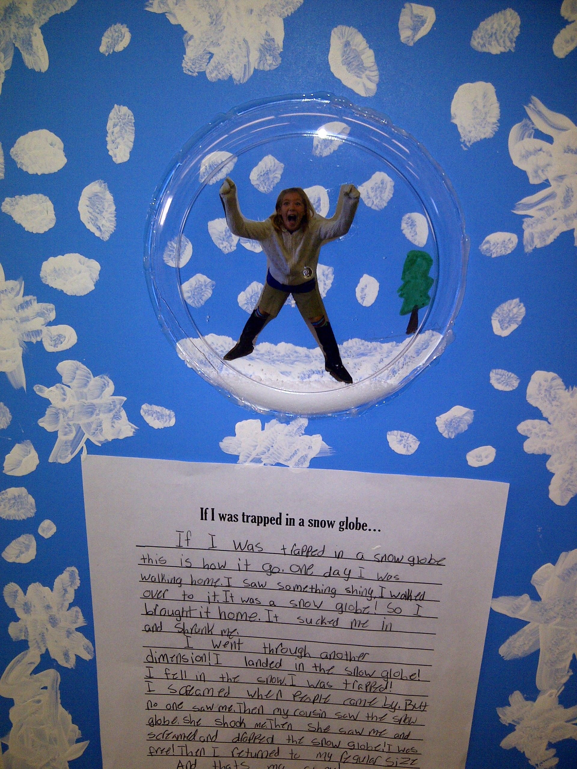 trapped in a snow globe writing activity for second