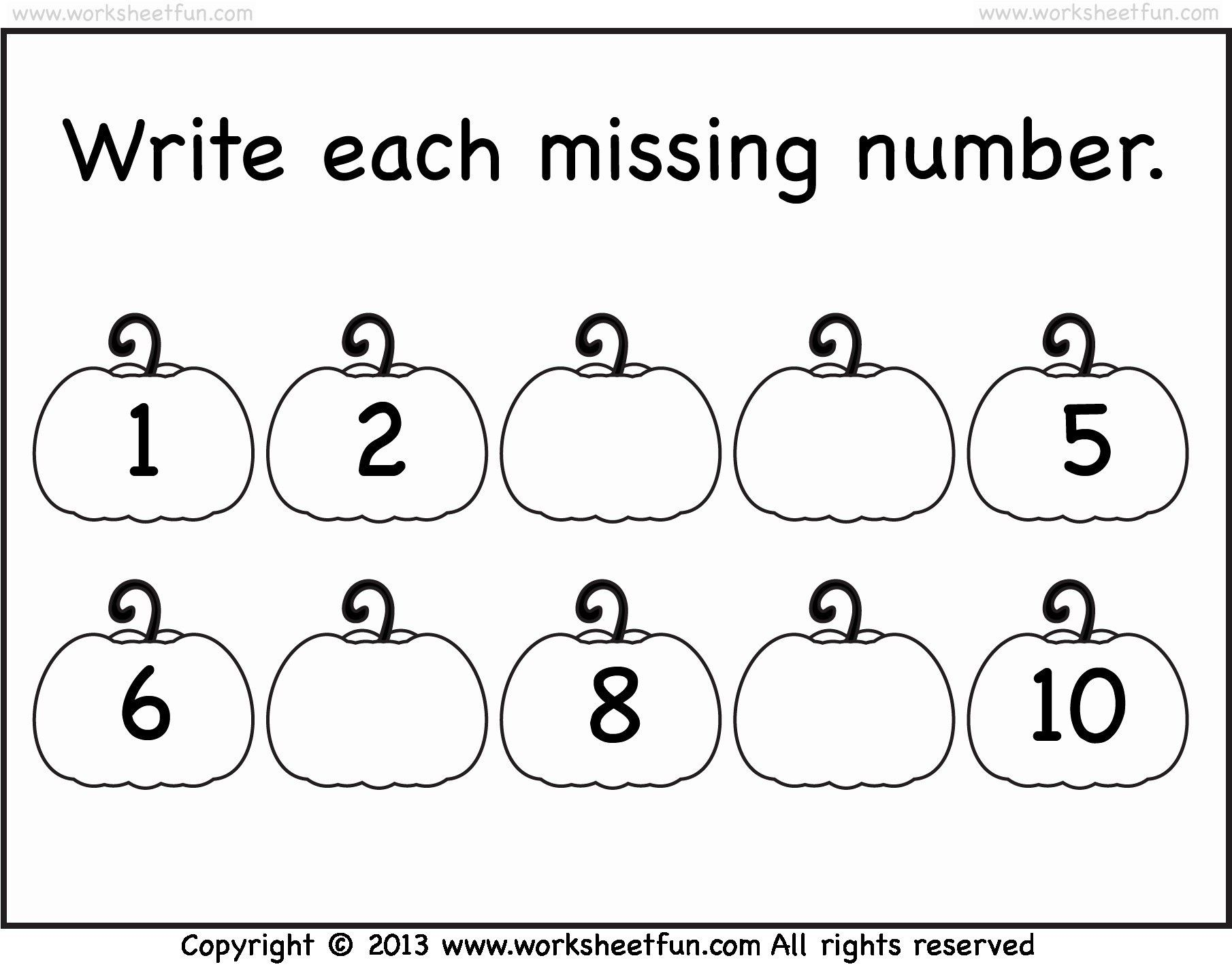 Numbers Valid Kindergarten Worksheets