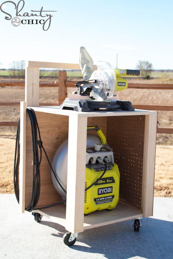 DIY Air Compressor Cart | Storage cart, Air compressor and Free ...