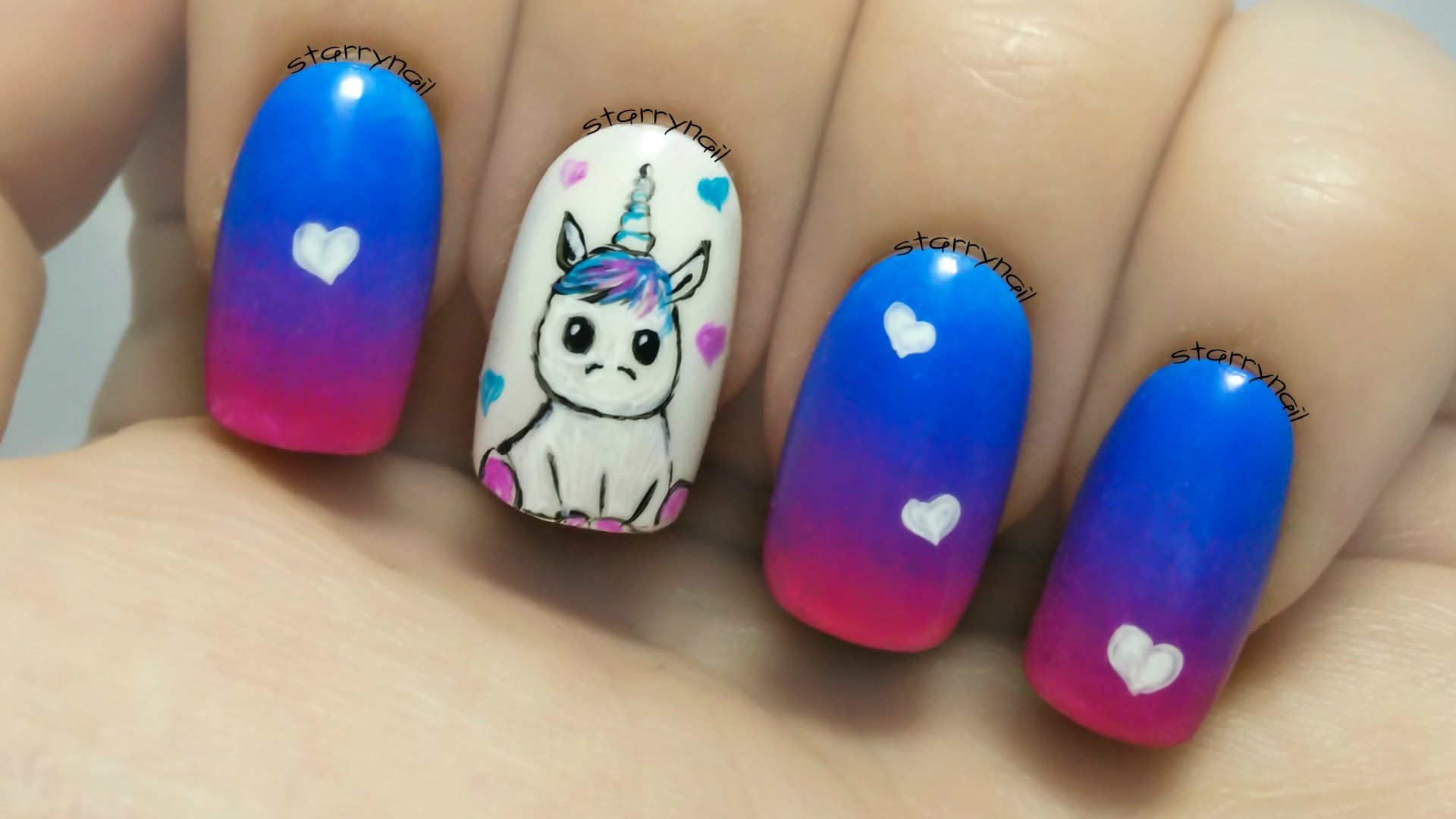Cute Unicorn ⎮ Freehand Nail Art Tutorial | Freehand Nail Art Video ...