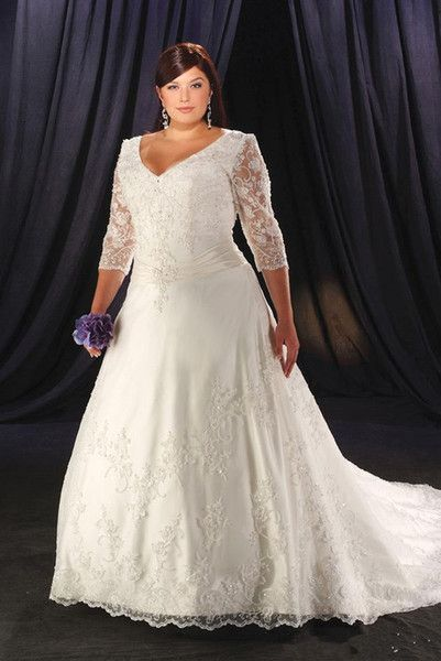 4ae00c45533 Discount Plus Size Wedding Dresses 2019 A Line Beaded Sequined ...