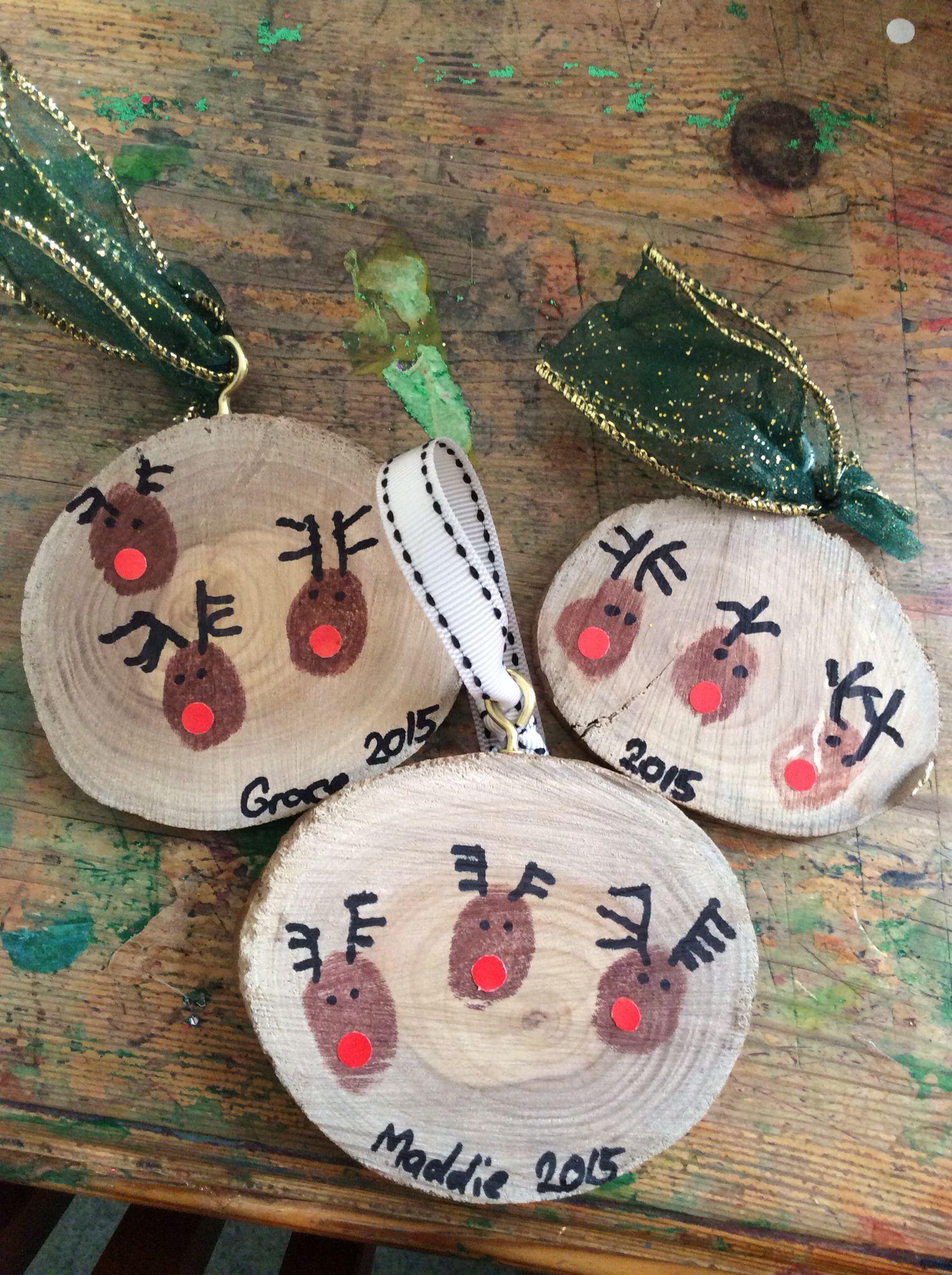 Christmas Ornaments Finger Print Reindeers On Wooden Discs Kids Christmas Ornaments Christmas Ornament Crafts Preschool Christmas