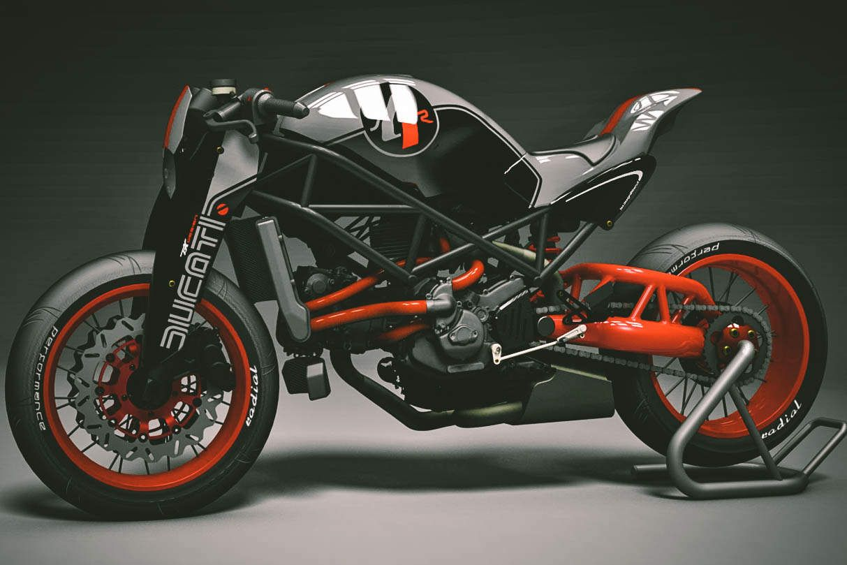 Clearly a street fighter rather than a cafe racer modification of 1st gen. Ducati Monster. The front suspension is conventional however (no matter how of it looks) but has been shaped in a manner to be more aerodynamically friendly. (G.)