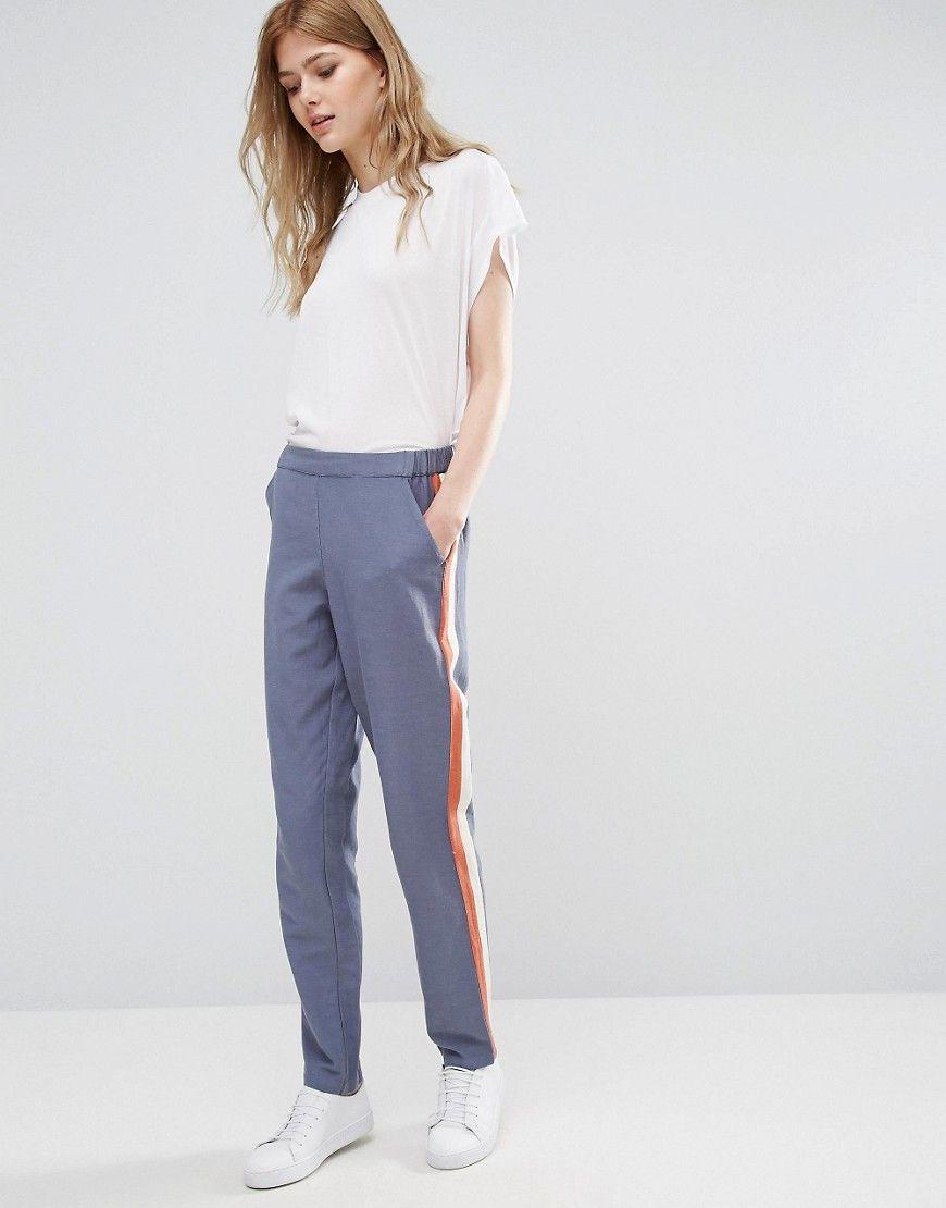 Buy It Now Vila Striped Joggers Grey Sweatpants By Vila Woven Cotton Stretch Waistband Side And B Pantalon Jogger Mujer Pantalones De Chandal Pantalones